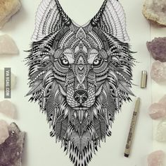 The wolf I drew! Her name's Aurora <--- awesome wolf drawing Wolf Tattoos, Animal Tattoos, Tatoos, Wolf Tattoo Design, Tattoo Designs, Kurt Tattoo, Lion Tattoo, Tattoo Hip, Lobo Tribal