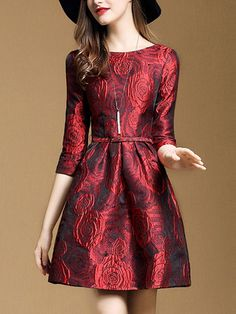 11ee3a48f90c Shop Midi Dresses - Red Elegant Embossed Crew Neck A-line Midi Dress online.