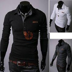 韩版修身双领格子男士长袖衬衫7-A08黑色L码  USD $4.99