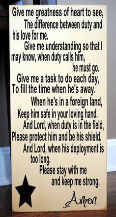 "Deployment Prayer Wooden Vinyl Subway Art Sign 12"" x 24"".  Military decor for a loved one's family by HD Vinyl Designs on Etsy, $32.00"