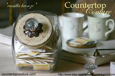"""A chic solution for everyday countertop storage"" http://www.etsy.com/shop/countertopcouture Pin It"