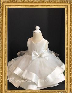 18b78fa9587f Baby girl christening dress/ baby baptism dress/ girl christening gown/  baptism gown/ white flower girl dress/ dedication dress/white dress
