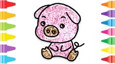 Glitter Pig how to coloring and drawing for Kids & Color pages Fun At Work, Drawing For Kids, Coloring For Kids, Glitter, Make It Yourself, Drawings, Painting, Coloring Pages For Kids, Painting Art