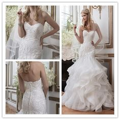 Vestido de noiva sereia renda 2015 Elegant Applique lace mermaid wedding organza and tulle ruffles wedding dresses bridal dress