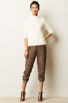 Nova Bronze Sequin Sweat Pants with soft and snuggly white angora blend sweater #anthropologie