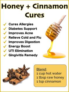 8 Medicinal Uses for Honey and Cinnamon  The reasons these two superfoods create such a powerful effect on the body vary, but they generally center on their ability to control inflammation, combat free radicals and boost the immune system. Brought to you by cdiabetes.com