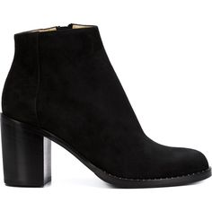 Paul Andrew chunky heel ankle boots ($1,345) ❤ liked on Polyvore featuring shoes, boots, ankle booties, black, black bootie, suede booties, black booties, black ankle booties and suede bootie