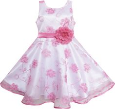 Girls Dress Pink Embroidered Flower Bow Tie Tulle Party Holiday Size 4-12 Years