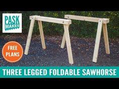 Three Legged Foldable Sawhorse - Built with Basic Tools - YouTube