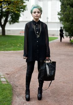 black, sheer, shirt, boots, winter, punk, death, hel-looks.com, necklace
