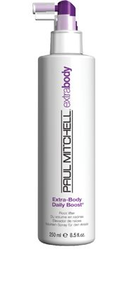 "Extra-Body Daily Boost®  Root Lifter    Gives fine hair a boost of volume at the roots. Helps protect hair from damage caused by heat styling. Precision sprayer delivers extra ""oomph"" right where you need it.  Panthenol helps protect fragile strands and   adds volume. #paulmitchell #hair #hairproduct #hairdresser #crueltyfree"