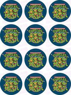 Teenage Mutant Ninja Turtles TMNT Inspired Edible Icing Cupcake Decor Toppers - TMNT2