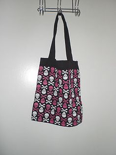 Loungefly pink and white skull tote bag