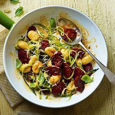 Gnocchi with Chorizo & Courgettes - Healthy & Easy Recipes...really easy! Crumble chorizo instead of slice