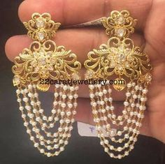 Earrings with Pearls Tassels - Jewellery Designs Indian Jewelry Earrings, Jewelry Design Earrings, Gold Earrings Designs, India Jewelry, Wedding Jewelry, Jewelery, Silver Jewelry, Pearl Jewelry, Silver Earrings
