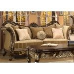 $1,504.00  Homey Design - Trento Pattern Chenille Fabric, Gold Paintbrush Finish Sofa - 266-S