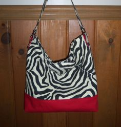 Zebra Slouchy Hobo Purse Tote Handbag by LillyBellsBowtique, $69.99