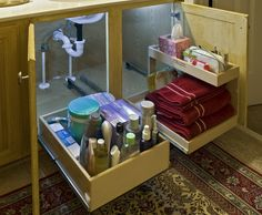 under kitchen sink storage ideas | Did you know they make a solution for this? Check it these bathroom ...