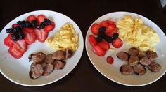 Breakfast in bed for wife.