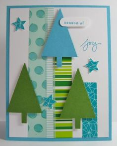 by Barb Mann - Cards and Paper Crafts at SplitcoaststampersWashi Tape & Punched Tree FUN! by Barb Mann - Cards and Paper Crafts at Splitcoaststampers Christmas Card Crafts, Homemade Christmas Cards, Christmas Cards To Make, Xmas Cards, Handmade Christmas, Holiday Cards, Homemade Greeting Cards, Homemade Cards, Paper Cards