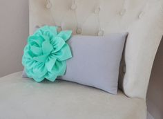 ALL ITEMS ARE MADE TO ORDER PLEASE SEE SHOP FOR CURRENT CREATION TIME!!!  Mint Green Dahlia on Gray Lumbar Pillow.    This Pillow is adorable! The