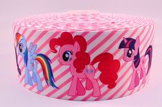 "3"" Wide Pink Striped My Little Pony Printed on Grosgrain Cheer Bow Ribbon"