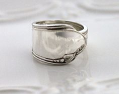 Spoon Ring, THUMB, Forefinger Ring - HEATHER aka MEADOWBROOK 1936 - Spoon Jewelry - Made In Usa - Size 8.75 by SilverwareCreations on Etsy