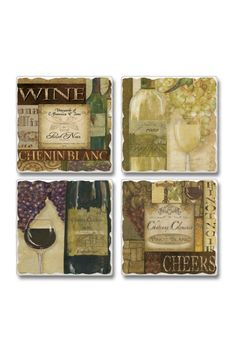 """Wine Stone Coasters help protect your table from sweating drinks. The coaster have a cork backing so not to scratch or damage your table surface. They make a wonderful gift for any occasion. Sold in sets of 4 coasters.    They measure 3.6"""" Sq. x .3"""" d.   Wine Coaster by Jems from Jennie. Home & Gifts - Home Decor - Dining Virginia"""