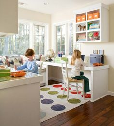 U-shaped desks for a homeschool set up off the kitchen. Use the sunroom? But will this work for three kids eventually or be too cramped?