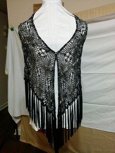 """Black Crochet Lace Shawl with Silver Metallic Beaded Flowers 6"""" Knotted Fringe  