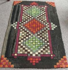 Checkerboard Geometric Primary Color Hooked Rug