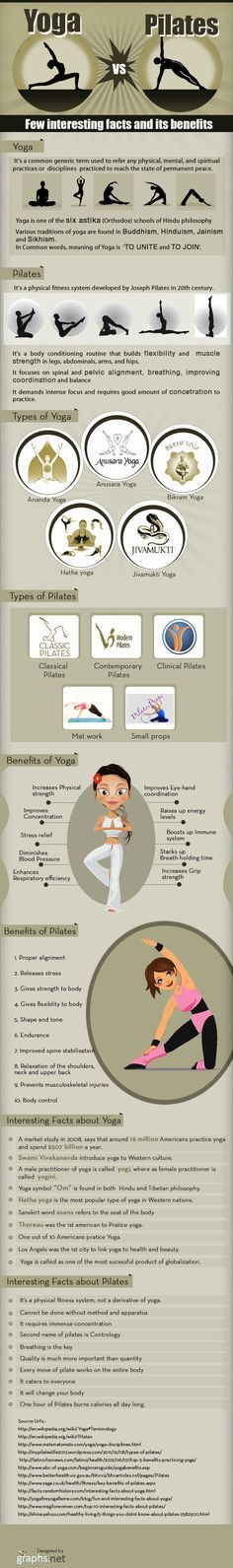 """Great """"yoga vs pilates"""" infographic. So glad someone differentiated the two. Love some Pilates."""