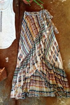 Boho with a Dash of Western. For the Wanderlust Soul : Flowy fun maxi skirt featuring wrap and ruffle detail Multi layered with a side tieColor: Beautiful multi colored design Estilo Hippie, Hippie Boho, Hippie Masa, Bohemian Skirt, Gypsy Skirt, Boho Skirts, Ethnic Jewelry, Bohemian Jewelry, Boho Dress
