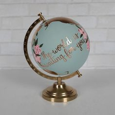 Painted Globe, Hand Painted, Creative Baby Announcements, Silver Leaf Painting, New Baby Presents, Wine Gift Baskets, Basket Gift, Congratulations Graduate, Color Quotes