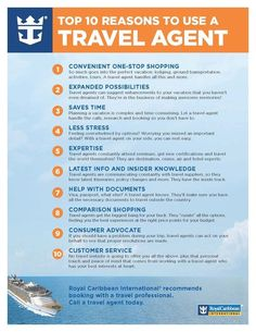 Top 10 Reasons to Use a Travel Agent from Royal Caribbean - Call Enjoy Vacationing to book your next vacation 608.347.8574 or info@enjoyvacationing.com
