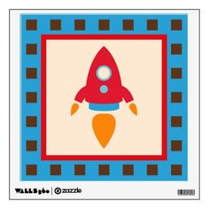 Rocket Space Ship Nursery Kids Wall Decal.  Removable wall decal won't damage walls.  Buy three different designs and make a truck collage with them.