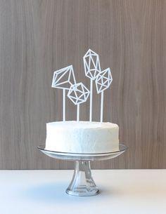 Cake topper blanc géométrique