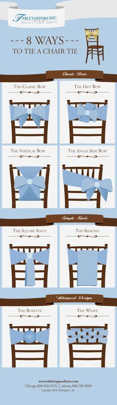 Check out the new Tabletoppers Inc Chair Tie Idea Guide! More tutorials are live on our website: Wedding Chairs, Wedding Table, Diy Wedding, Wedding Reception, Wedding Ideas, Chair Decor Wedding, Wedding Chair Covers, Trendy Wedding, Ribbon Wedding