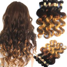 3 Tone Ombre Body Wave Brazilian 100% Virgin Human Hair Extension Remy Hair Weft #WIGISS #HairExtension