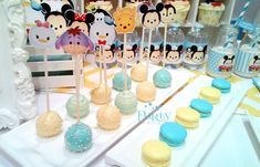 Disney Tsum Tsum baby shower party cake pops! See more party planning ideas at CatchMyParty.com!