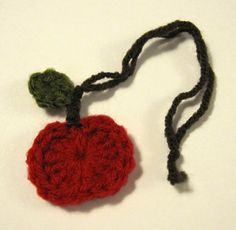 crocheted small apple ornament