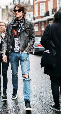 Leather Fashion, Mens Fashion, Fashion Outfits, Rock Fashion, Fasion, Riders Jacket, Bomber Jacket, Classic Leather Jacket, Rock Style