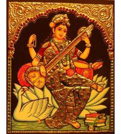 Tanjore Painting of Godess Saraswati