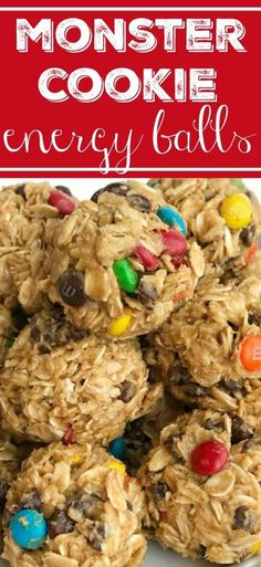 Monster cookie energy balls are a great afternoon energy boost or perfect for an after school snack. Hearty oats, chocolate chips, peanut butter, honey, and m&m's make these energy balls so delicious and fun. Healthy Food Recipes, Healthy Meal Prep, Cooking Recipes, Healthy Eating, Healthy Protein Snacks, Healthy Energy Bites, Protein Energy Bites, Oatmeal Energy Bites, Healthy Breakfasts