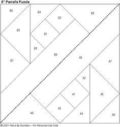 quilt block patterns printable | Parrot's Puzzle Free Paper Piecing Quilt Block Pattern