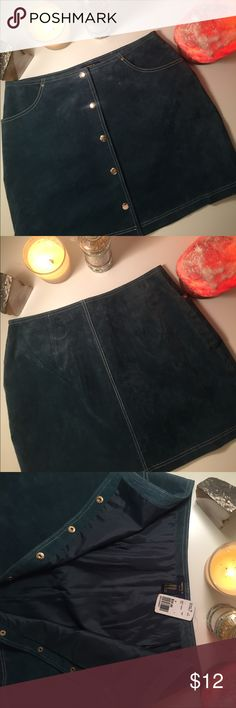 New With Tags Suede Mini-Skirt Teal Forever 21 Vintage inspired Suede Skirt from Forever 21. New With tags because I bought the wrong size and couldn't return. My loss your gain! Beautiful white stitching detail, pockets, and snaps down the front. Completely lined and still in brand new condition. Forever 21 Skirts Mini