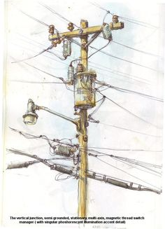 Stationary electrical conductor assistant, watercolor sketch #watercolor#sketch#powerpole