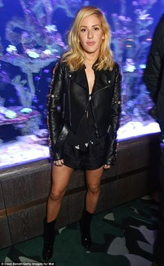 She sells sea shells: Ellie sported gold sea shells and sea horses on her leather jacket...