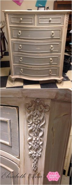 Drawers painted with Lillian Grey and body painted with White Ice, distressed then sealed with a mixture of Sheer VAX and Hazelnut ReVAX. #lilliangrey #whiteice #hazelnutrevax