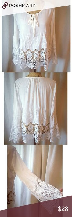 NEW! 100% Cotton Crochet Bell Sleeve Top NEW!  Soft Ivory Cream Collar. 100% Cotton fabric is cool to the touch. Embroidered design. Crochet hemline and bell sleeves. Ties at front collar center point. Fit runs small. BRAND NEW IN PACKAGE . Boutique  Tops Blouses